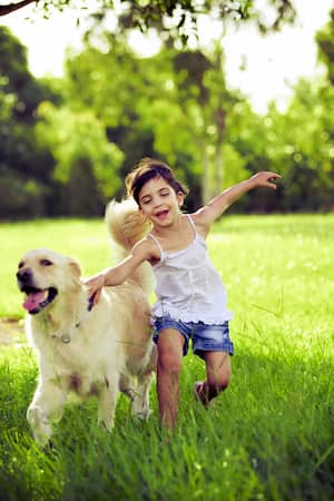 ragazza con un cane golden retriever