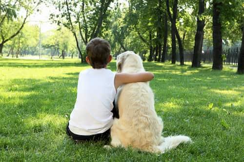 ragazzo con il suo cane a Londra